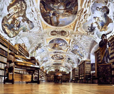 Historical library of Strahov Monastery in Prague, Theological Hall 版權商用圖片 - 31565128