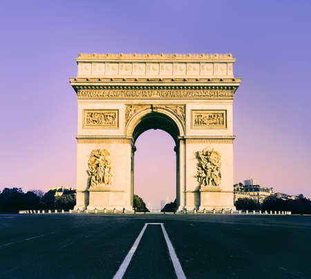 Arc de Triumph in Paris, France, front view, toned image photo