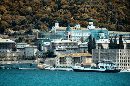Monastery Panteleimonos on Mount Athos, Chalkidiki, Greece, toned image photo