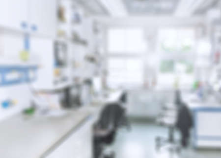 Scientific : modern laboratory interior out of focus, text space