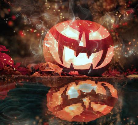 water well: Halloween pumpkin by the water well
