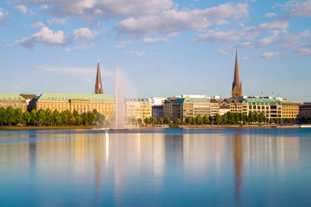 View across the Inner Alster Lake (Binnenalster) in Hamburg, Germany