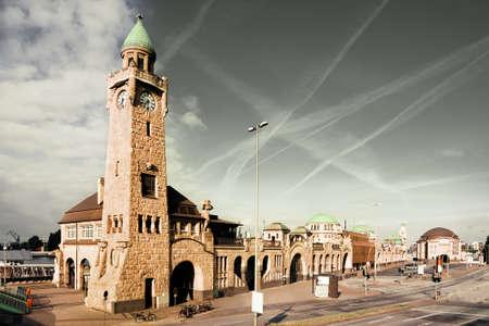 st pauli: The St. Pauli Piers in Hamburg, Germany, toned image Stock Photo