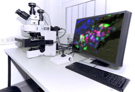 Modern microscope equipped with digital camera, computer and monitor 스톡 콘텐츠