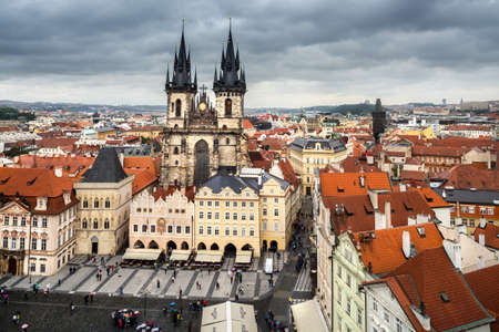 stare mesto: Prague, bird view from Town Hall tower on a rainy day