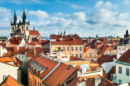 tyn: A view to the Church of Virgin Maria Before Tyn and rooftops of Old Prague Stock Photo
