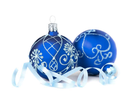 1 2 month: Two blue Christmas Baubles on white