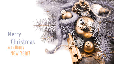 replaceable: Christmas corner composition with trinkets and replaceable text, toned image