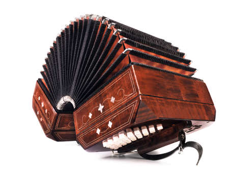 milonga: Bandoneon, tango instrument, three quarters view on white background