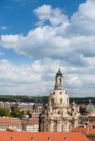 reconstructed: Aerial view of roofs of Old Dresden and Frauenkirche on a bright day