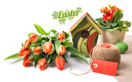 focus stacking: Easter arrangement with orange tulips, primluas and spring decorations isolated on white, space for your text. This image has deep DOF because of focus stacking. Stock Photo