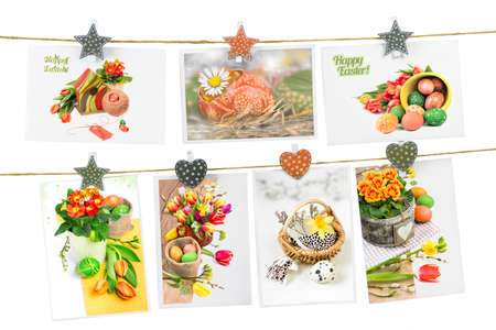Easter greeting cards pinned on the rope on white background, concept for Easter design photo