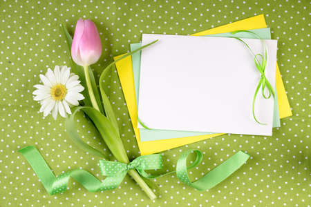 Spring frame for your greeting card with flowers and ribbons in green, yellow and pink