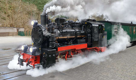 railway engine: Historical steam train on end station in Gohren, island Rugen, Germany