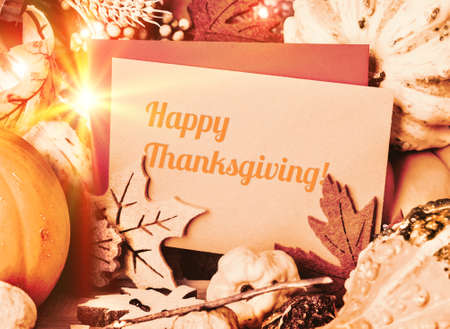 greeting card: Autumn greeting card with text Happy Thanksgiving! Stock Photo