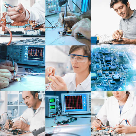 technician: Electronics repair and assembly, workers and hands. Set of nine pictures for your website or leaflet