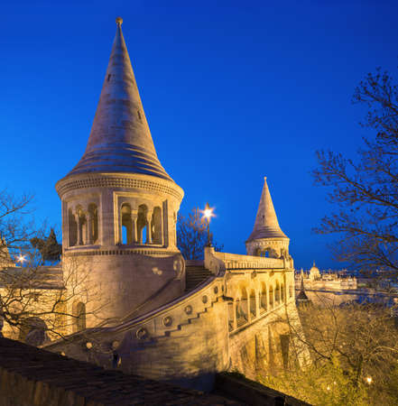 fisherman bastion: Fishermans Bastion in Budapest, Hungary at night. Vertical panorama made from three frames.