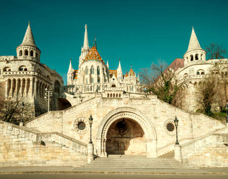 fisherman bastion: Fishermans Bastion in Budapest, Hungary. This image is toned Editorial