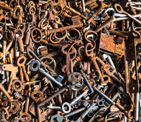 orange texture: Background with rusty keys from different locks