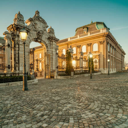 buda: Ornate gates into Buda Castle in Budapest early in the morning. Focus on the gate. This image is toned Editorial