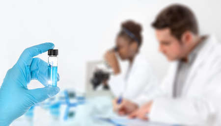 medical laboratory: Modern science background. Hand in blue glove with sample, working scientists out of focus, text space
