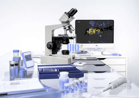 slide glass: Microscopic work station, scientific background in lilac and white hues