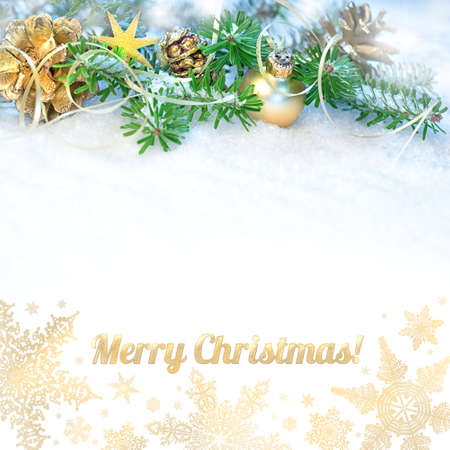 christmas christmas tree: Greeting card with Christmas tree, decorated branches on snow and caption Merry Christmas! among golden snowflakes