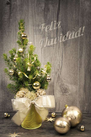 navidad navidad: Greeting card with decorated Christmas tree and caption Feliz Navidad or Merry Christmas in burnt letters on wood Stock Photo