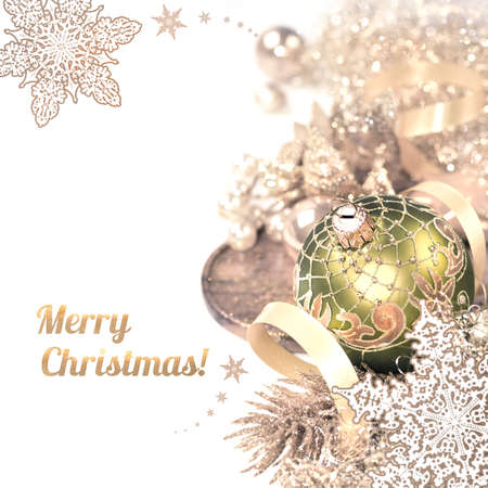 schneeflocke: Christmas arrangement on white background, caption Merry Christmas on white, space for your text. This image is toned.