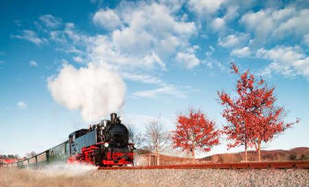northeast: Historical steam train on island Rugen Ruegen in North-East of Germany