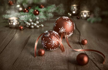 christian candle: Christmas arrangement in red and white on wooden table. Merry Christmas! This image is toned Stock Photo