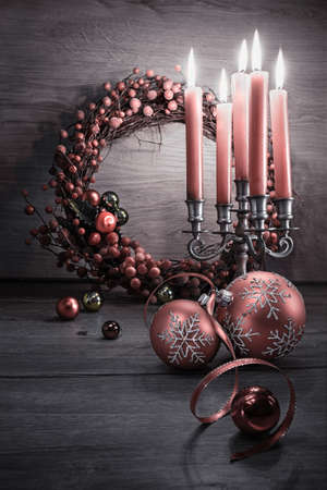 Elegant Christmas decorations on wood, space for your greeting. Merry Christmas!