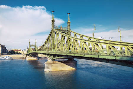 budapest: Freedom Bridge in Budapest, Hungary, on a bright day Stock Photo