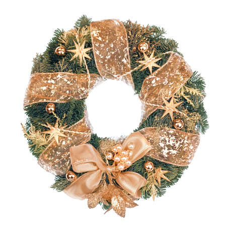christmas isolated: Christmas wreath with golden decorations isolated on white and message Merry Christmas!, This image is toned.