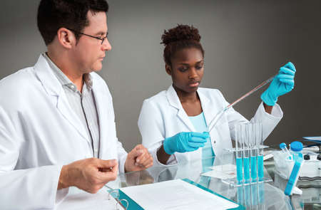 Scientists at work. Focus on the African female scientist or tech.