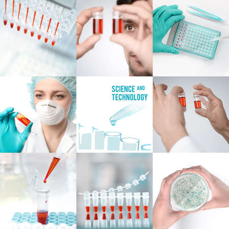 sequencing: Experimental science and modern biological technology, set of matching pictures for your leaflet or webpage design Stock Photo
