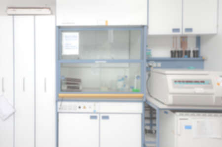 hood: Laboratory interior out of focus, template for a poster, webpage or leaflet