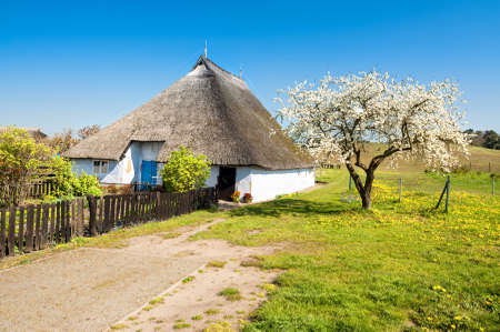 thatched house: Priest House of Gross Zicker,the oldest House on Rugen Island,Germany