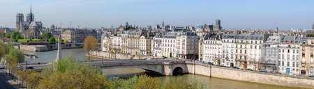 romance sky: Paris, aerial view from the viewing point on the top of the Institute of Arabian World, with Notre Dame cathedral and river Seine