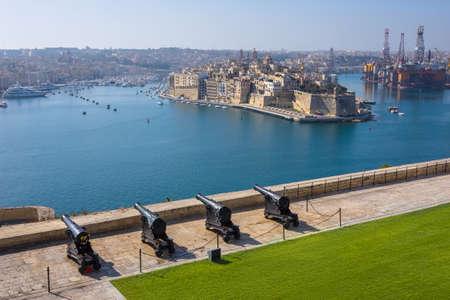 saluting: Upper Barrakka Gardens & Saluting Battery with cannons in Valletta, Malta Stock Photo