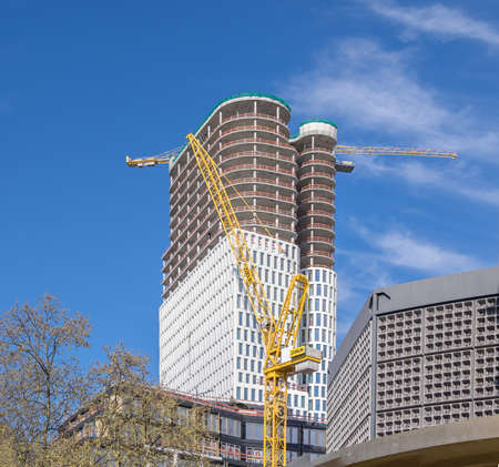 west germany: BERLIN, GERMANY - APRIL 29, 2016: Construction of Upper West, residential high-rise building in Berlin-Charlottenburg
