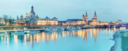 passenger ships: Night panorama of Dresden Old town with reflections in Elbe river and passenger ships. This image is toned.