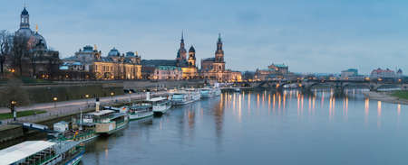 passenger ships: Night panorama of Dresden Old town with reflections in Elbe river and passenger ships