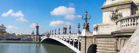 alexandre: Alexandre Bridge in Paris on a bright sunny morning in Spring, panorama image