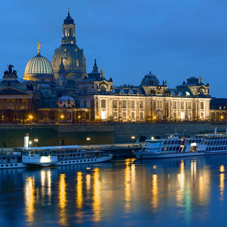 passenger ships: Dresden at night, with historical passenger ships, Bruhls Terrace and Frauenkirchem reflected in the river