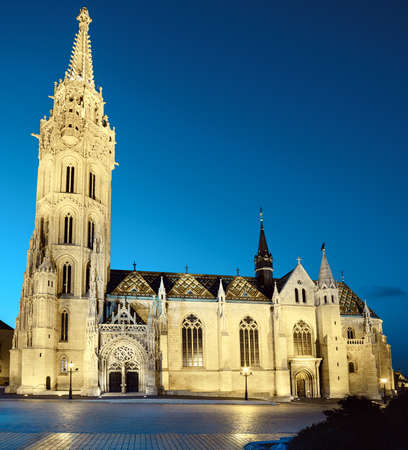 matthias: Illuminated Matthias church  in Budapest, Hungary, late in the evening
