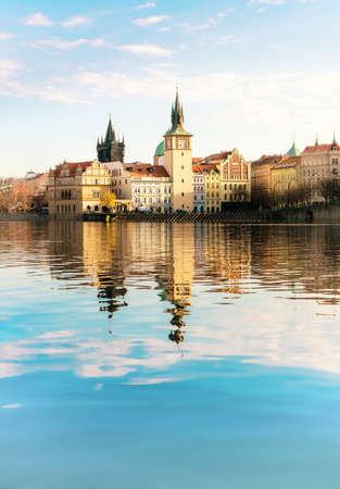historical buildings: Historical buildings in Prague from across Vltava river