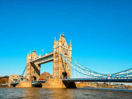 britan: Tower Bridge in London in the late afternoon. This picture is toned. Space for your text. Stock Photo