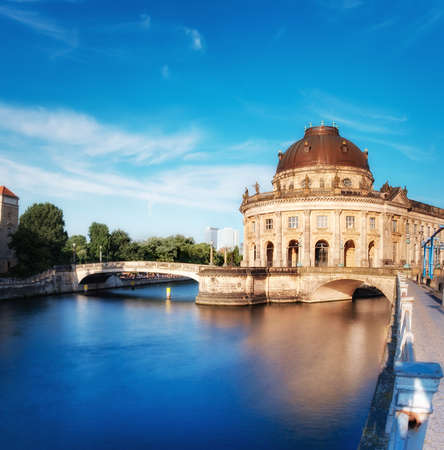 bode: Museum island in Berlin on river Spree early afternoon