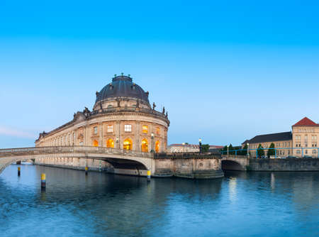 bode: Night time illuminations of Museum Island in Berlin, Germany. Panorama image, space for your text Editorial